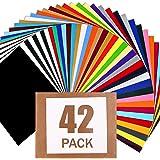Paquete de vinilo de transferencia de calor HTV: 42 hojas de vinilo para planchar, 30 colores surtidos, vinilo de transferenc