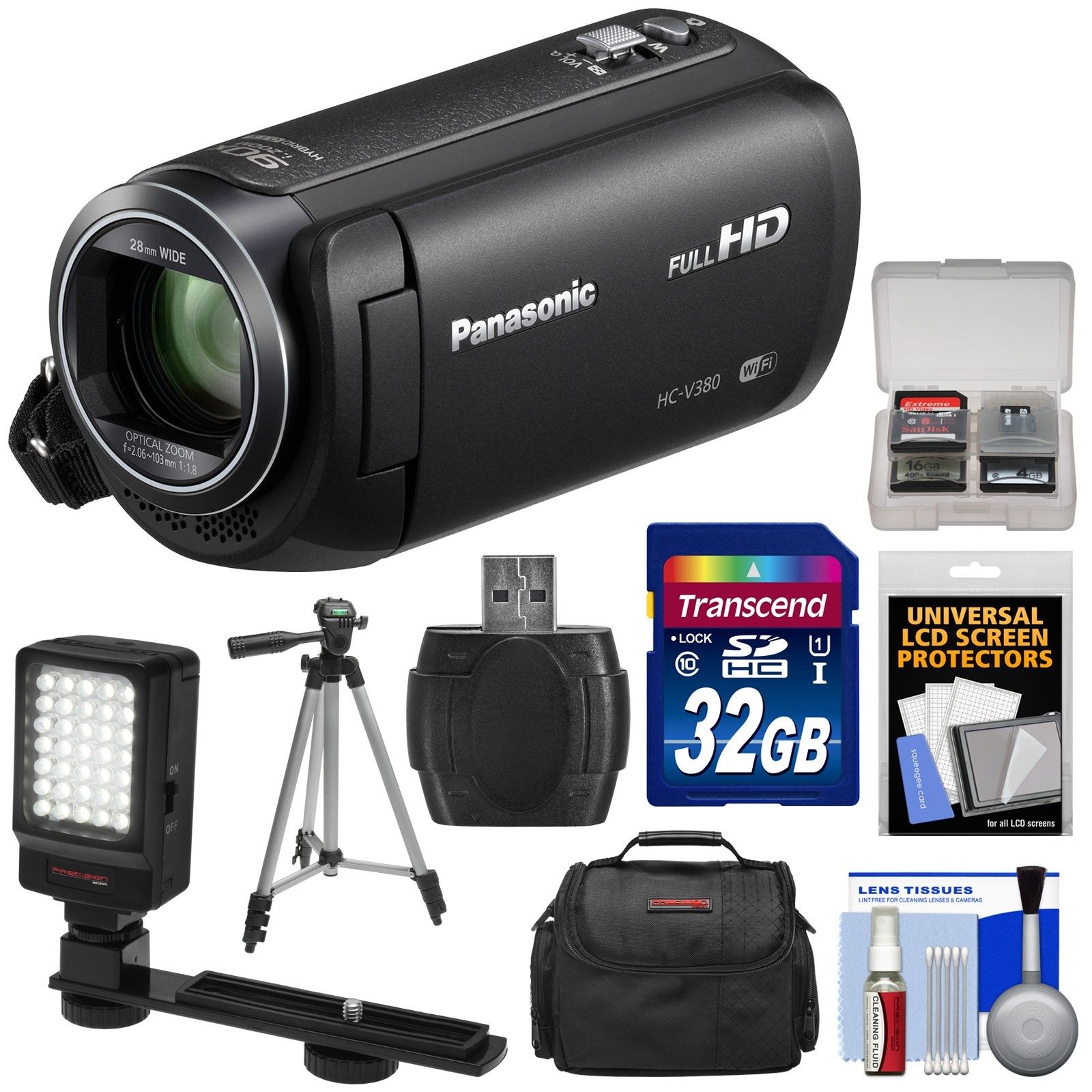 Panasonic HC-V380 Wi-Fi HD Video Camera Camcorder with 32GB Card + Case + Tripod + LED Light + Reader + Kit by Panasonic