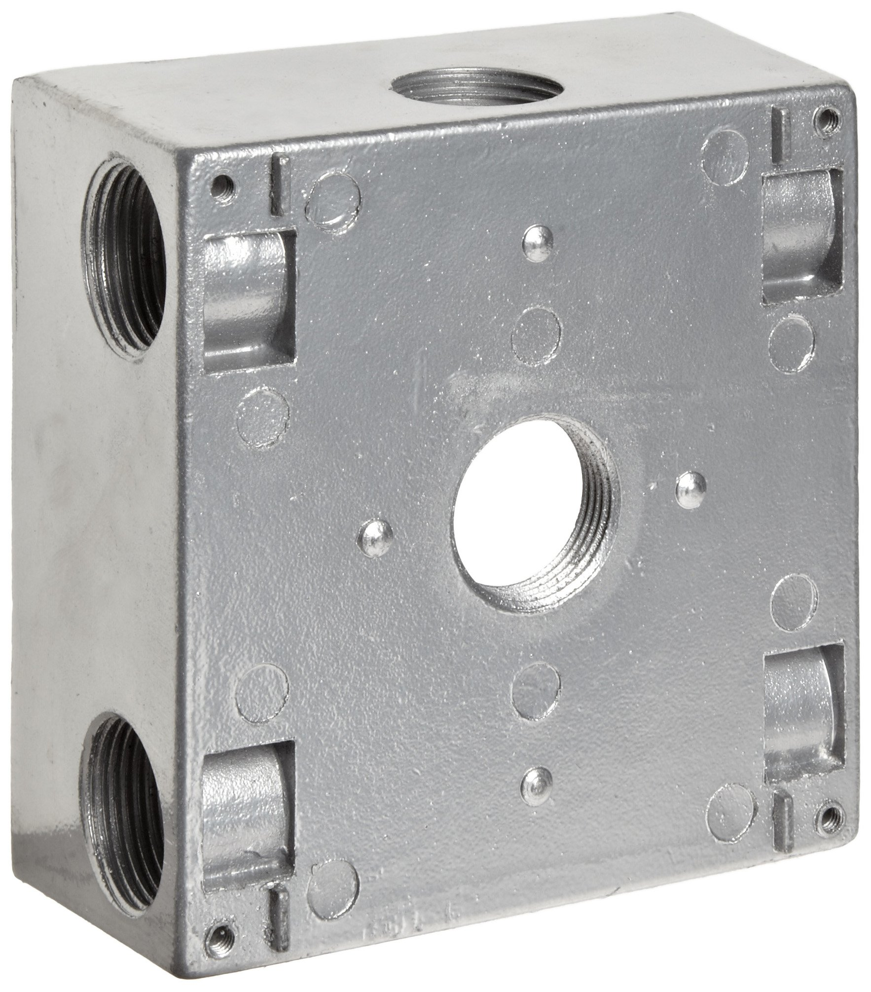 Morris Products 36340 Weatherproof Box, Two Gang, 30.5 Cubic Inch Capacity, 7 Outlet Holes, Gray, 4-1/2'' Length, 4-1/2'' Width, 2'' Depth, 3/4'' Outlet Hole Diameter, 2 Closure Plugs