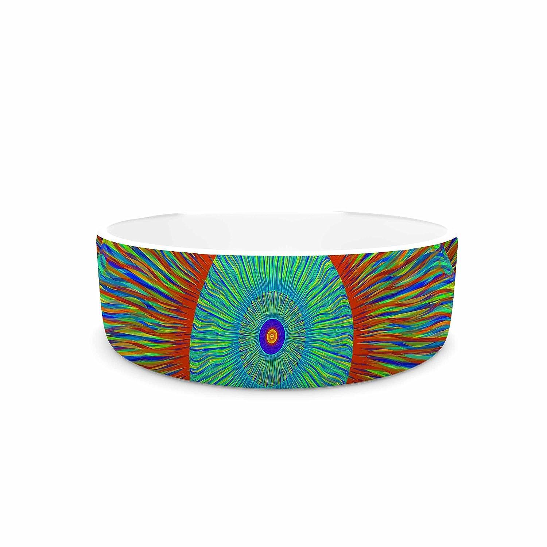 4.75\ KESS InHouse Bruce Stanfield Aztec  Teal Art Deco Pet Bowl, 4.75