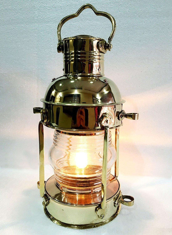 Vintage Brass Electric Green Lamp Maritime Ship Lantern Boat Light Home Decorative