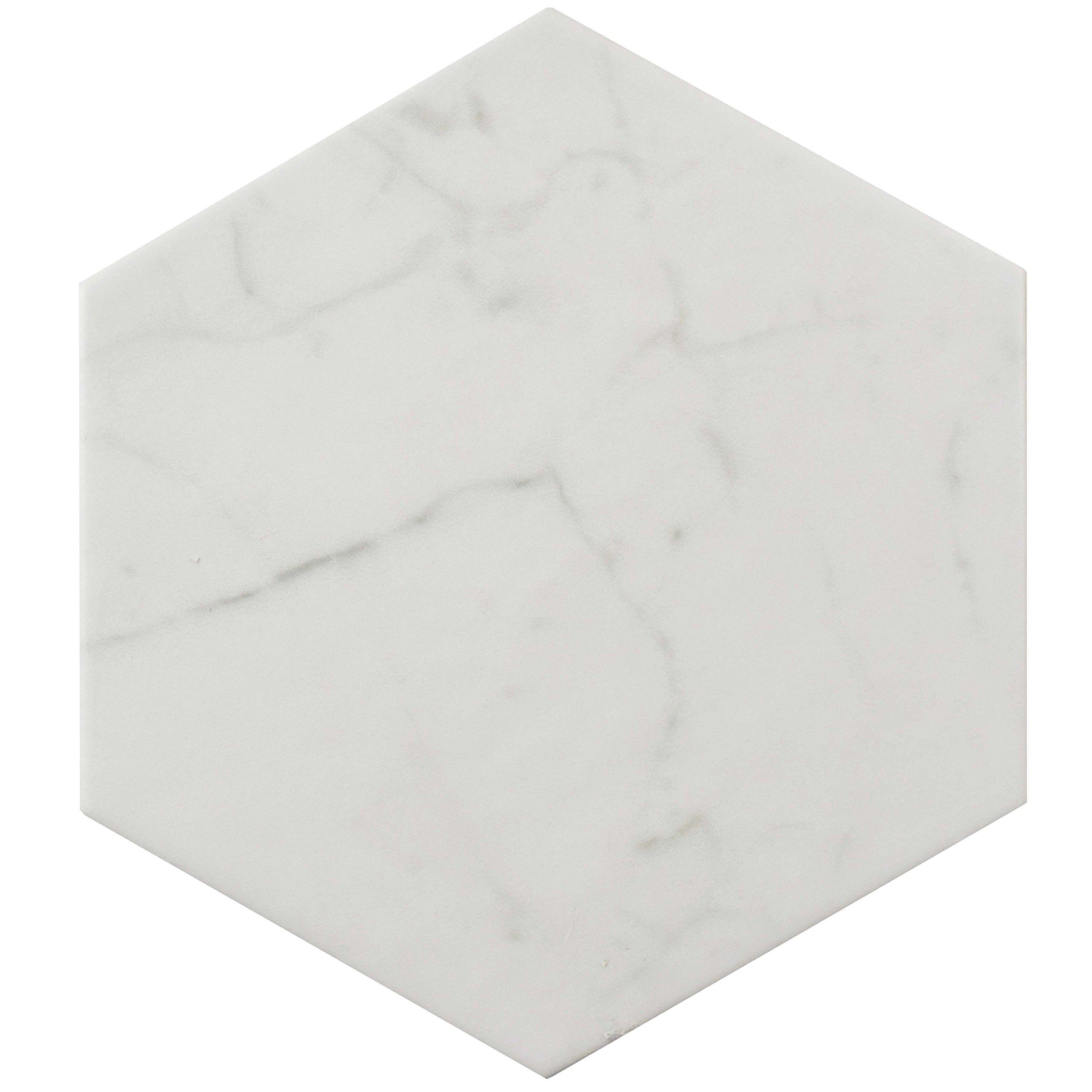SomerTile FEQCRX Murmur Carrara Hexagon Porcelain Floor & Wall Tile, 7'' x 8'' (Pack of 25) by SOMERTILE (Image #2)