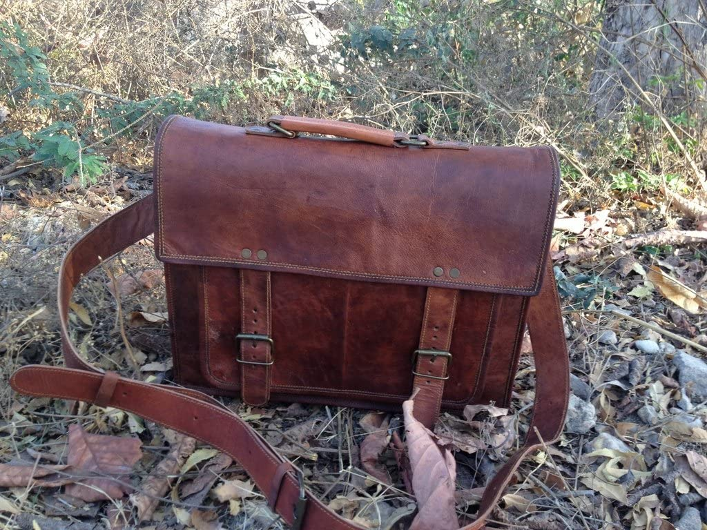 18 Inch Vintage Handmade Leather Messenger Bag for Laptop Briefcase Satchel Bag 18X13X6 Inches Brown ...