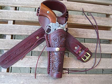 6 Barrel Gun Holster 45 Caliber Brown Right Handed Leather Tooled