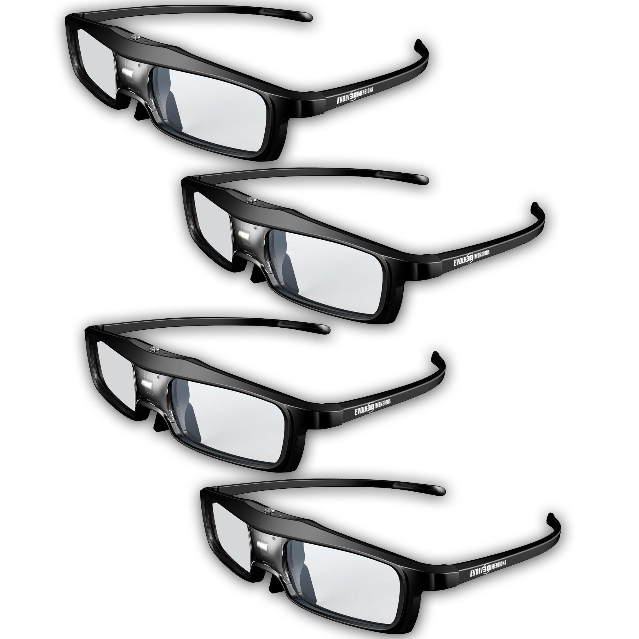 Evolved Dimensions (previously True Depth 3D) Firestorm LT Lightweight Rechargeable DLP link 3D Glasses for All 3D Projectors (Benq, Optoma, Acer, Vivitek, Dell Etc) and All DLP HD 3D TVs (Mitsubishi, Samsung Etc) Compatible At 96 Hz, 120 Hz and 144 Hz! (