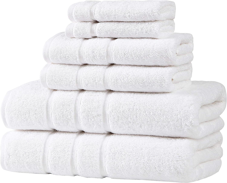 UpThrone Turkish Cotton White Bath Towels Set - Bathroom Towels - Turkish Bath Towel Set for Bathroom - Turkish Cotton Bath Towels Set of 6: Kitchen & Dining