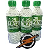Blaster Airsoft BBs 25 gram and patch by First and Only Airsoft, Airsoft gun ammunition - very accurate BBs in an amazing 3 bottle/9000 shots bulk deal