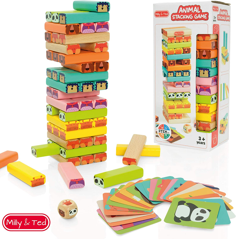 Milly & Ted - Juego de Torres de Madera para niños - Juego de Mesa Familiar para niños o niñas - Juguete para apilar Bloques para niños de 3 a 9 años: