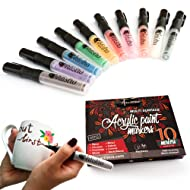 Paint Pens for Rock Painting, Ceramic, Porcelain, Glass, Wood, Fabric, Canvas. 10 Permanent Acrylic Paint Markers, Medium point tip