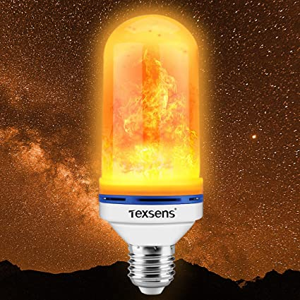 Texsens LED Flame Effect Light Bulb, E26 LED Flickering