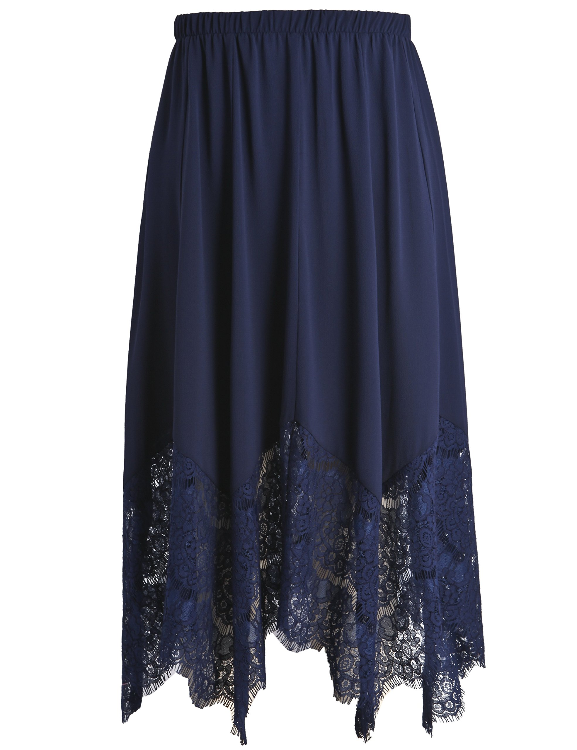 Chicwe Women's Plus Size Long Flare Lace Trimmed Skirt with Elastic Waistband - Casual and Work Skirt Navy 2X