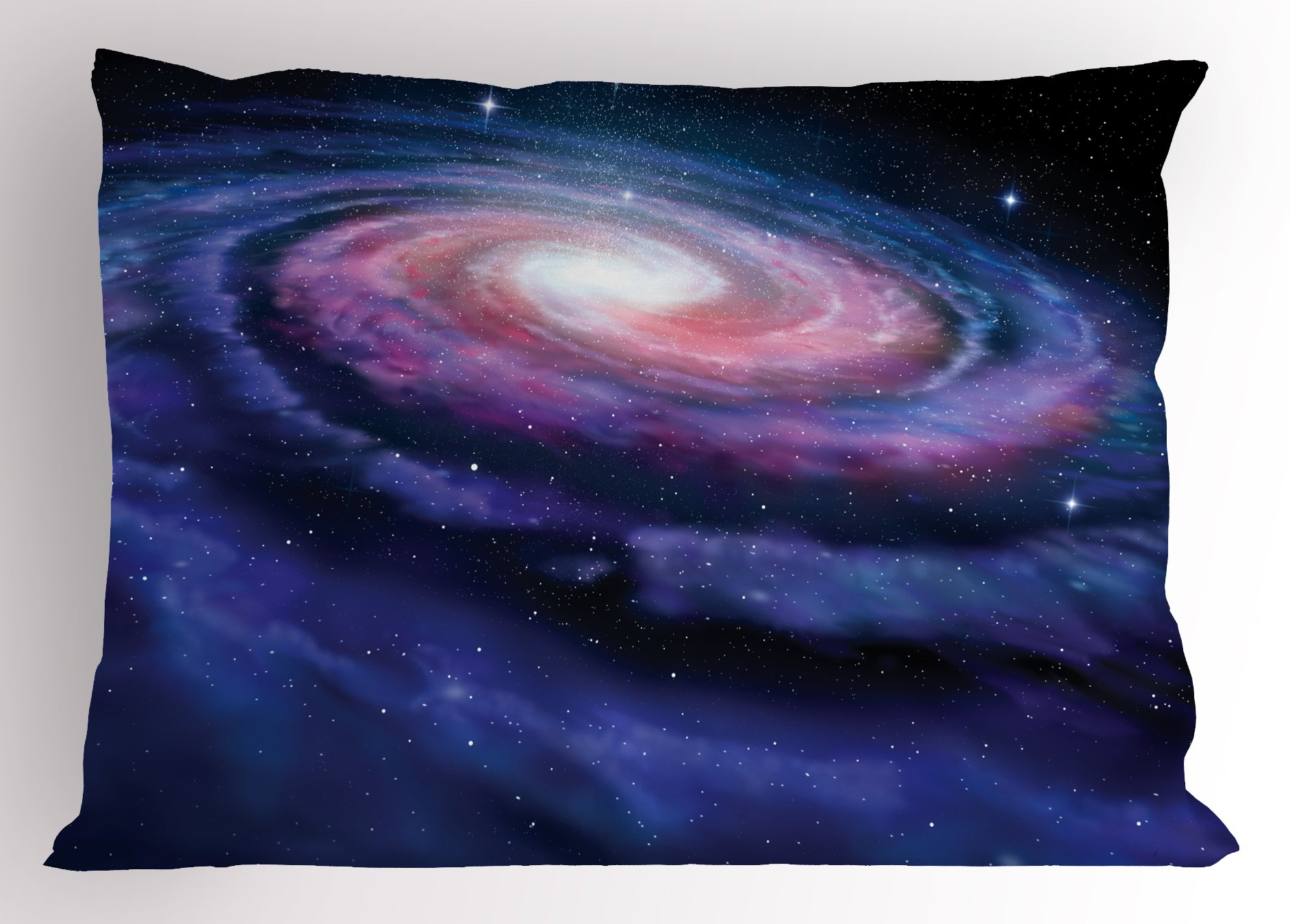 Lunarable Outer Space Pillow Sham, Spiral Cosmic Energy with Dark Nebula Cloud Burst Solar System Universe Image, Decorative Standard King Size Printed Pillowcase, 36 X 20 inches, Blue Purple