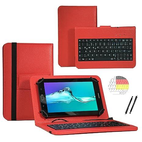 Deutsche Qwertz Tastatur für Lenovo Tab3 10 Plus TB3-X70F Tablet PC Etui Schutz Hülle mit Touch Pen - Tastatur 10.1 Zoll Rot