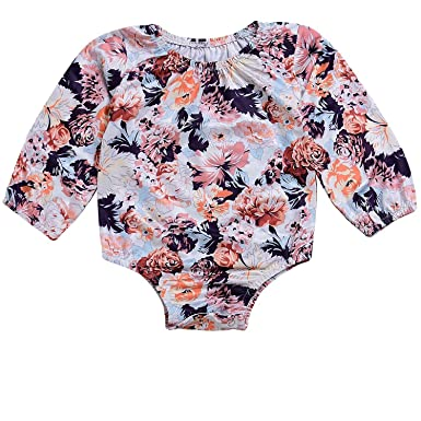 a0146a6fc1e HappyMA Infant Baby Girls Long Sleeve Floral Romper Bodysuit Outfit Autumn  Clothes (0-6