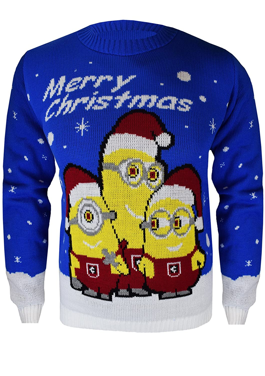 SA Fashions® Kids Boys Girls Children Knitted Xmas 3 Minion Christmas Banana Snow Flakes Retro Novelty Jumper Sweater Santa Size Top Age 5-13