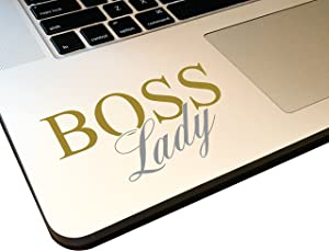 "Boss Lady 4"" Decal Vinyl Motivational Sticker for Laptop Journal,Wall or car (Metallic Gold/Metallic Silver)"