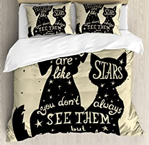 Ambesonne Inspirational Duvet Cover Set Queen Size, Cat and Dog Silhouettes with Friendship Themed Phrase ans Stars Grungy Display, Decorative 3 Piece Bedding Set with 2 Pillow Shams, Black Tan