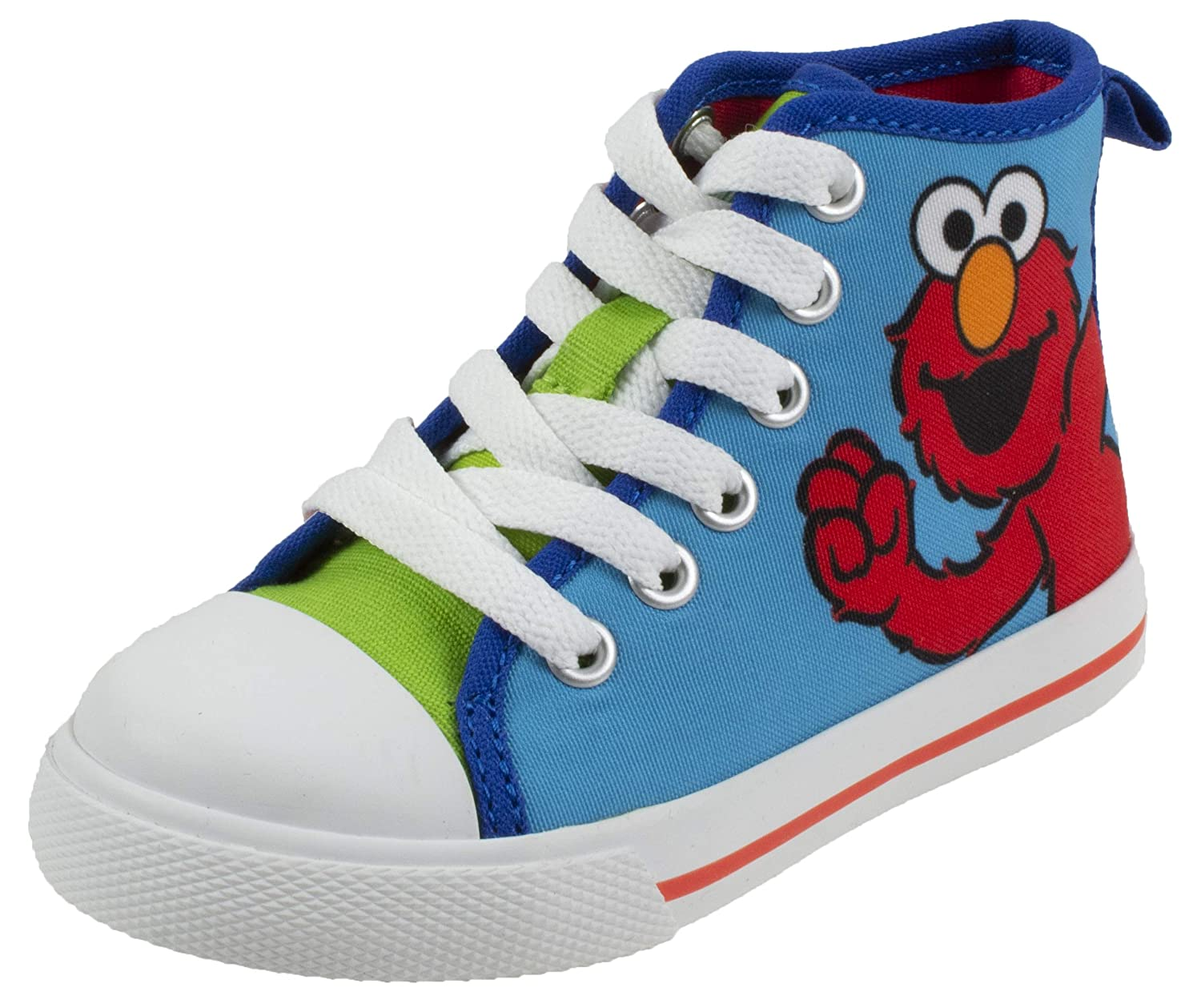 487f9a989c460 Sesame Street Elmo Shoes, Hi Top Sneaker with Laces, for Toddlers and Kids,  Size 6 to 12