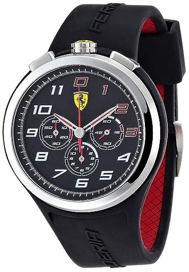 Ferrari 830100 - Reloj analógico de cuarzo para hombre, correa de silicona color negro (