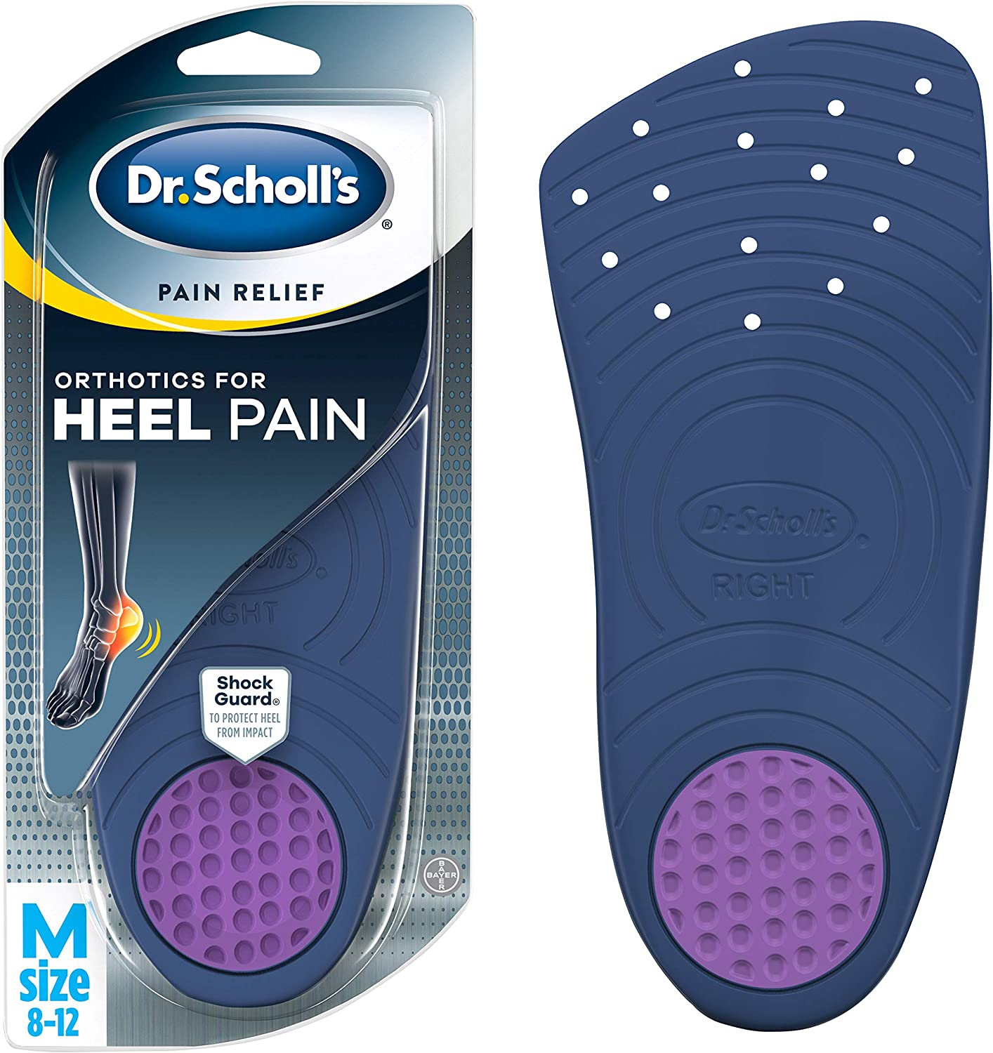Dr. Scholl's HEEL Pain Relief Orthotics // Clinically Proven to Relieve Plantar Fasciitis, Heel Spurs and General Heel Aggravation (for Men's 8-12, also available for Women's 5-12): Health & Personal Care