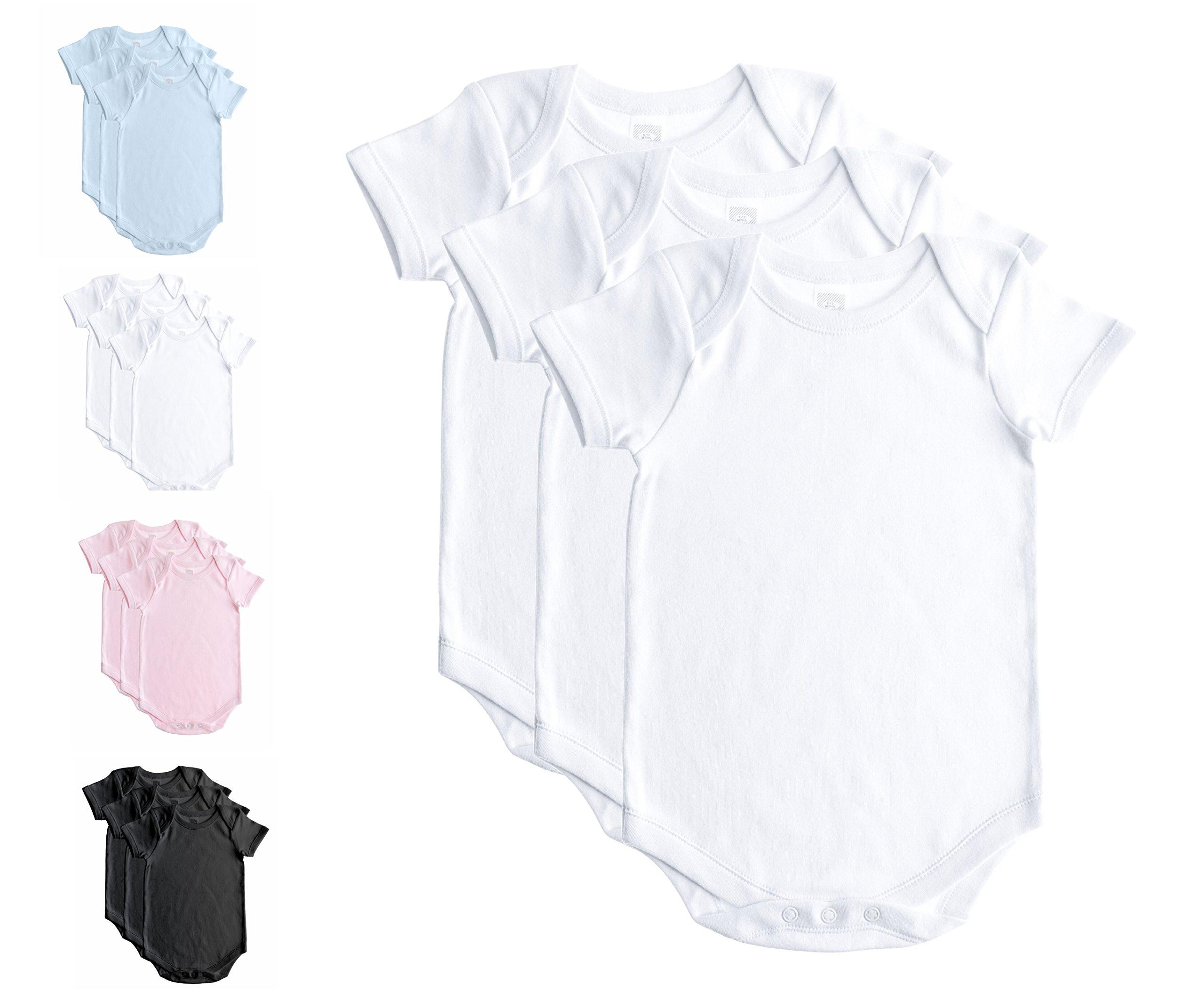 Baby Jay Soft Cotton Onesies, Short Sleeve Lap Shoulder Bodysuit, WSSE White 24-36 3-Pack