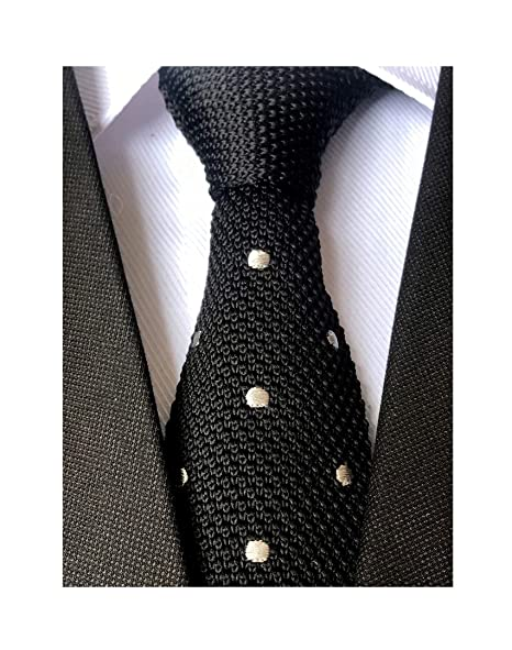12695cfb5c40 Secdtie Mens Boy Black Knitted Neck Tie with White Dots Accessory Formal  Necktie