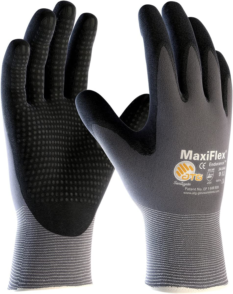 3 Pack MaxiFlex Endurance 34-844 Seamless Knit Nylon Work Glove with Nitrile Coated Grip on Palm & Fingers, Sizes Small to X-Large (Small)