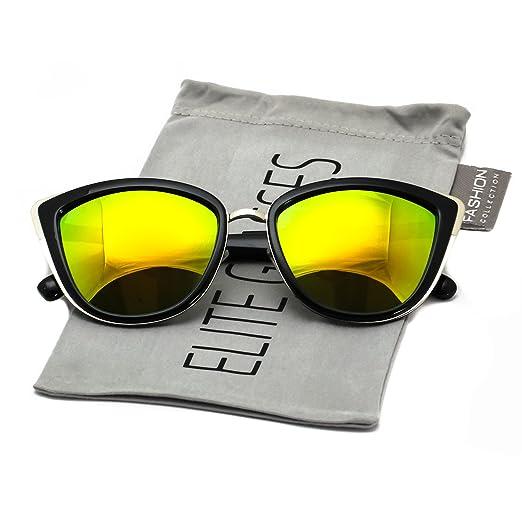 1b4c132a9f2 Elite Women s Classic Cat Eye Designer Fashion style Metal Bridge Trim Frame  Mirrored Lens Sunglasses (