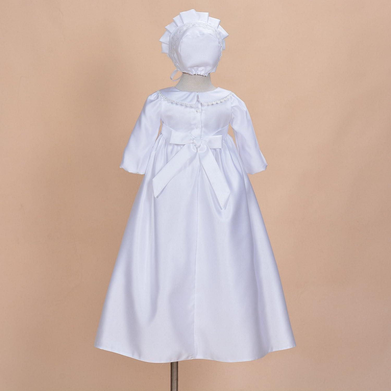 Cinda Mangas largas para beb/é Tradicionales de Raso Vestido de Bautizo y el cap/ó