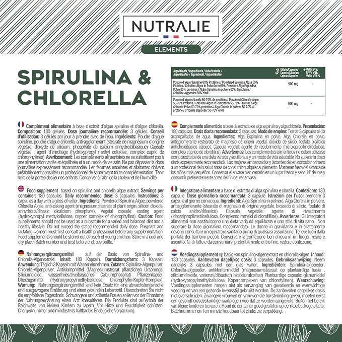 Espirulina & Chlorella 1800mg | Detox, Energía, Fuerza y Efecto Saciante | Superalimento Rico en Proteínas y Vitaminas | 180 Capsulas 100% Veganas | ...