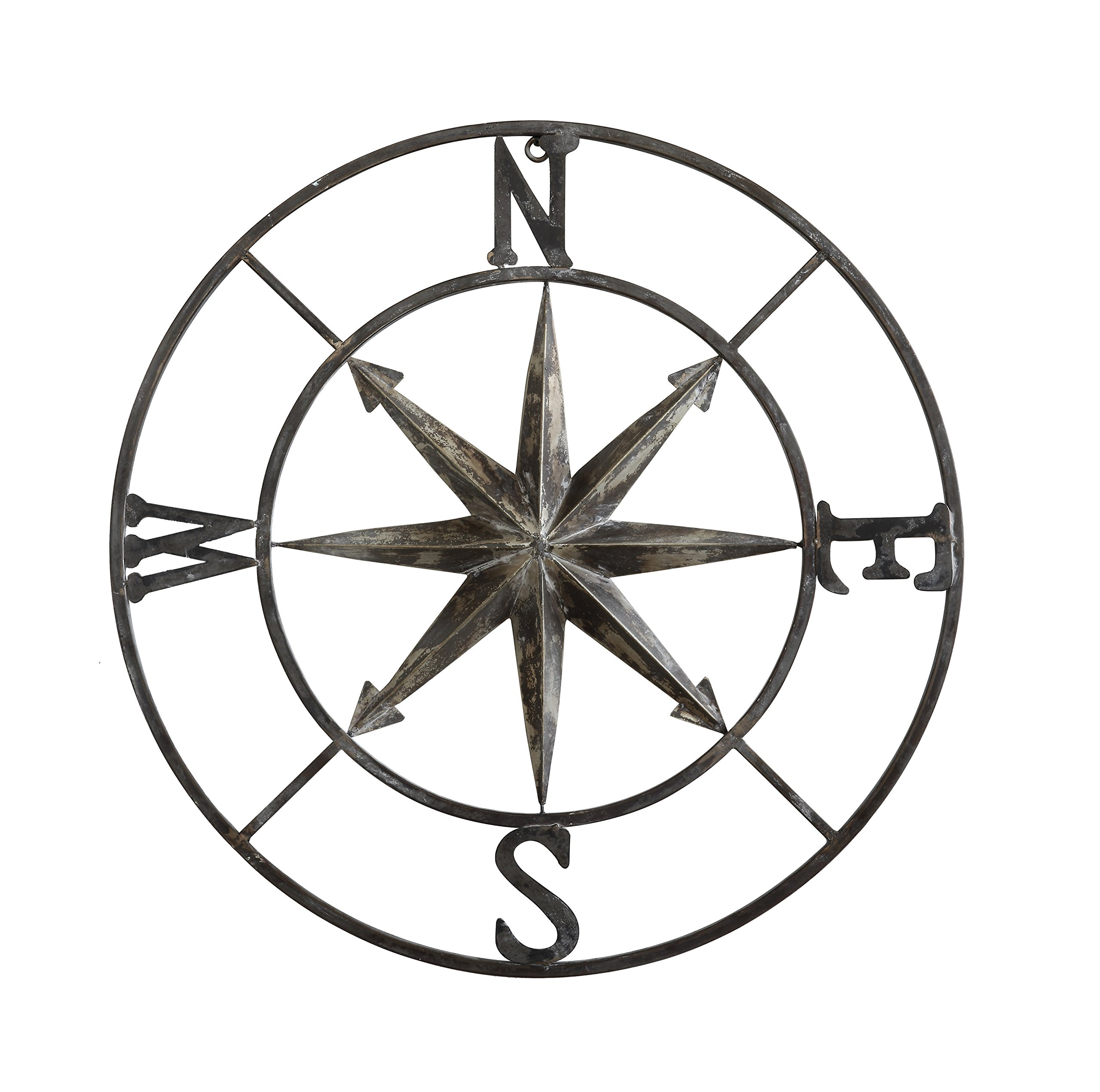 Creative Co-op Decorative Round Metal Compass Wall Décor, 30'', Black by Creative Co-op