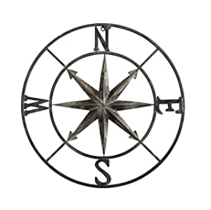 "Creative Co-op Decorative Round Metal Compass Wall Décor, 30"", Black"