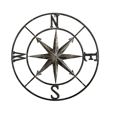 Creative Co-op DA7818 Decorative Round Metal Compass Wall Décor