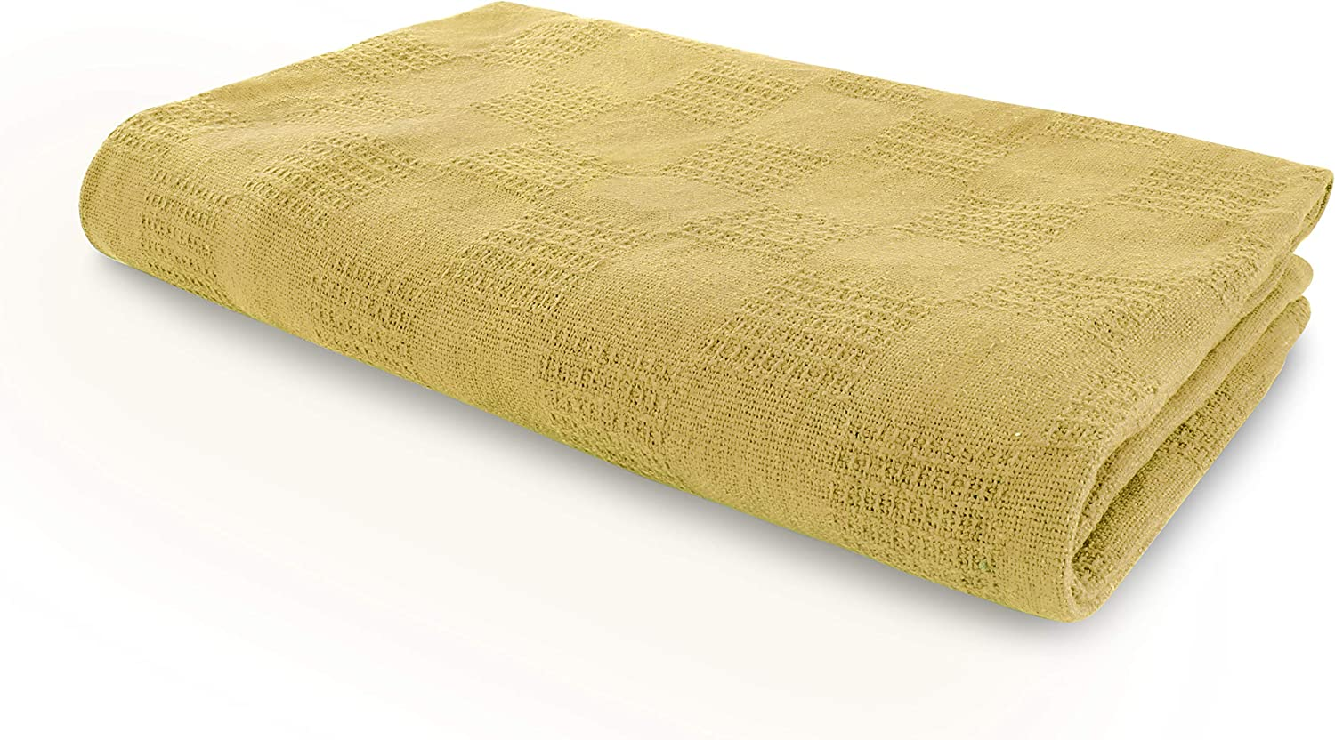 Jmr Beige Hospital/Home Thermal Blanket Snagfree 100% Cotton Coach Throw or Quilt Twin Size 66x90