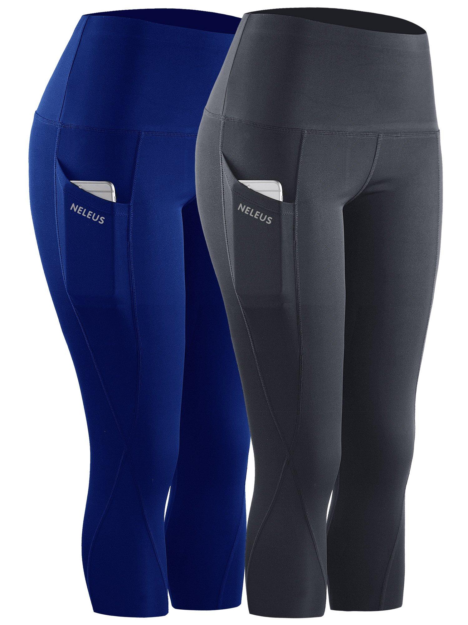 Neleus 2 Pack Tummy Control High Waist Workout Yoga Capri Leggings,9027,Grey,Blue,S,EU M