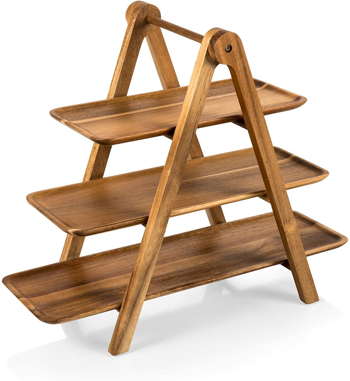 TOSCANA - a Picnic Time Brand 829-03 Three-Tiered Acacia Ladder Serving Station, 14-3/4 Inch