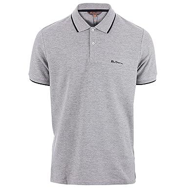 0deae426 Ben Sherman Mens Tipped Pique Polo Shirt in Grey Marl- Short Sleeve- 2  Button: Ben Sherman: Amazon.co.uk: Clothing
