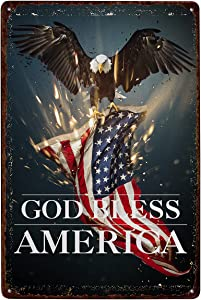 Eagle American Flag GOD Bless America Plaque Poster Metal Tin Sign Wall Decor Art for Indoor Outdoor Cafes Homes Bars Door Art Wall Plaque Decoration 12x8 Inch