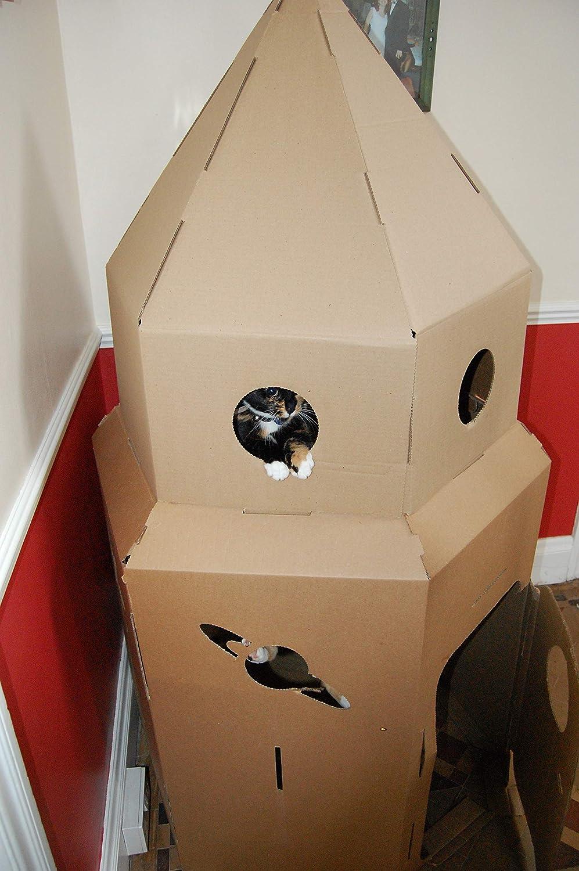 White Kideco Cardboard Rocket Toy Playhouse