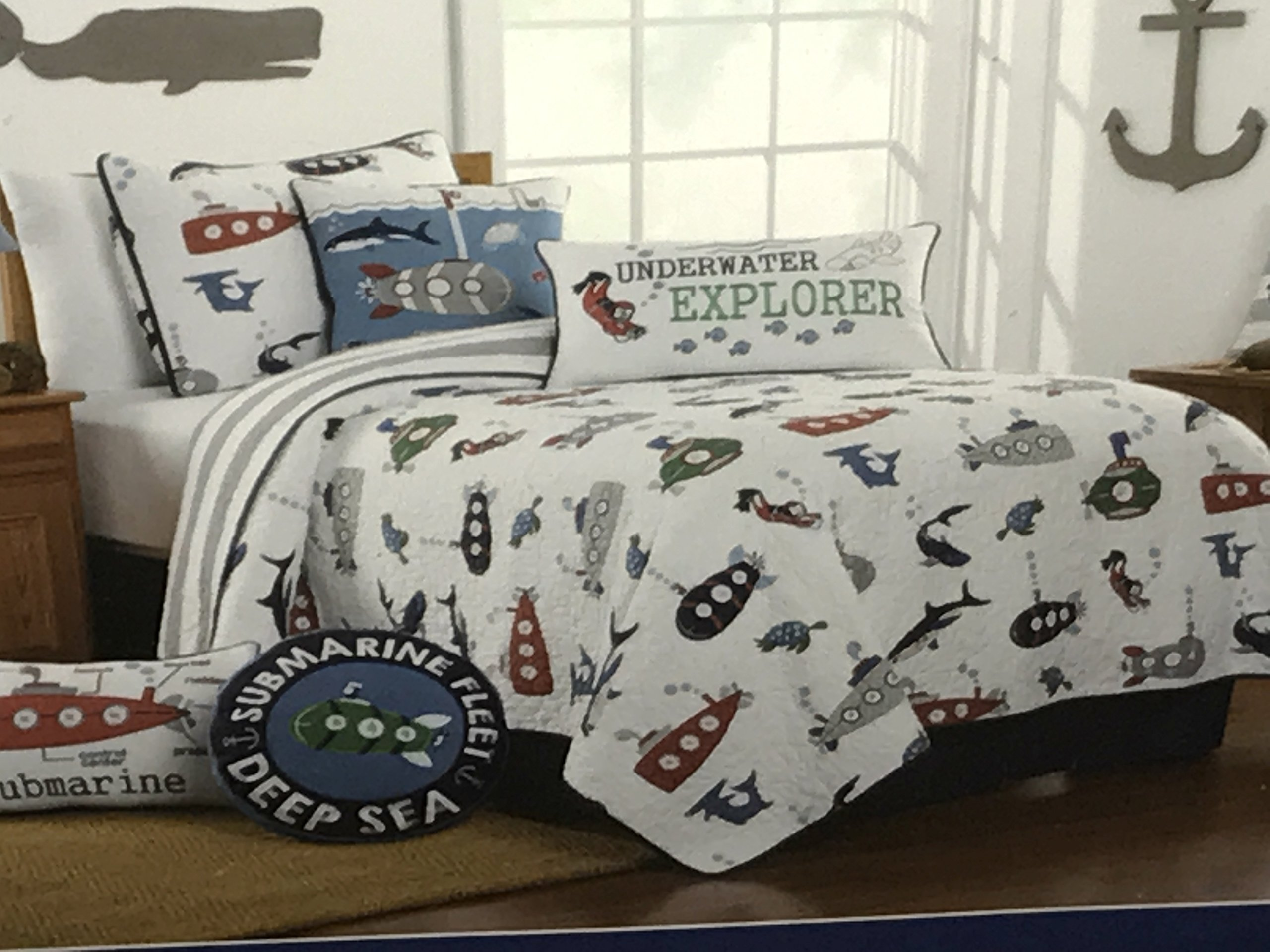 Boat House Submarine Deep Sea Underwater Sharks Reversible TWIN SIZE QUILT