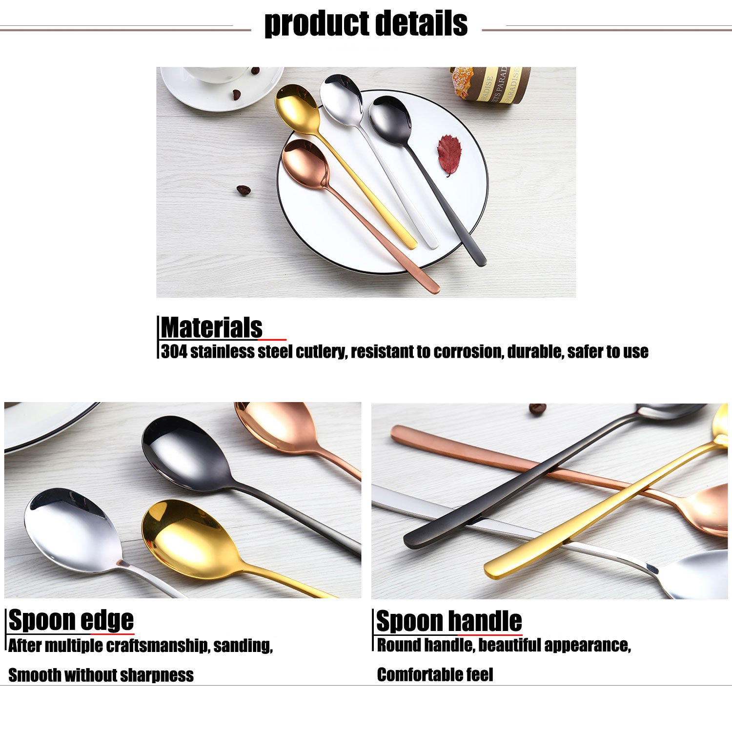 Spoons,QMFIVE,SET OF 4 Piece,Rice spoon,Soup spoon,8.3inch Color stainless steel spoon,Chic and elegant by QMFIVE (Image #3)
