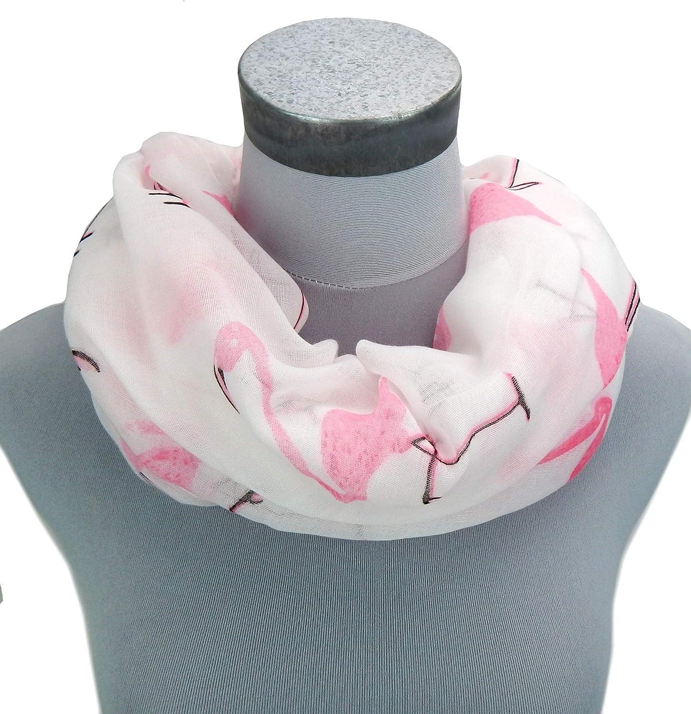 Ella Jonte Flamingo Loop Blanc Rose Large /Écharpe Flamants 100/% Viscose
