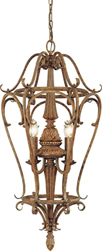 Volume Lighting V3544-64 Capri 4 Light Chestnut Spice Chandelier, 16.75 x 16.75 x 35