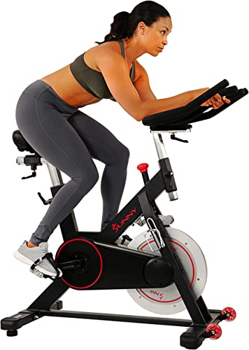 Sunny Health Fitness Magnetic Belt Drive Indoor Cycling Bike with 44 lb Flywheel and Large Device Holder