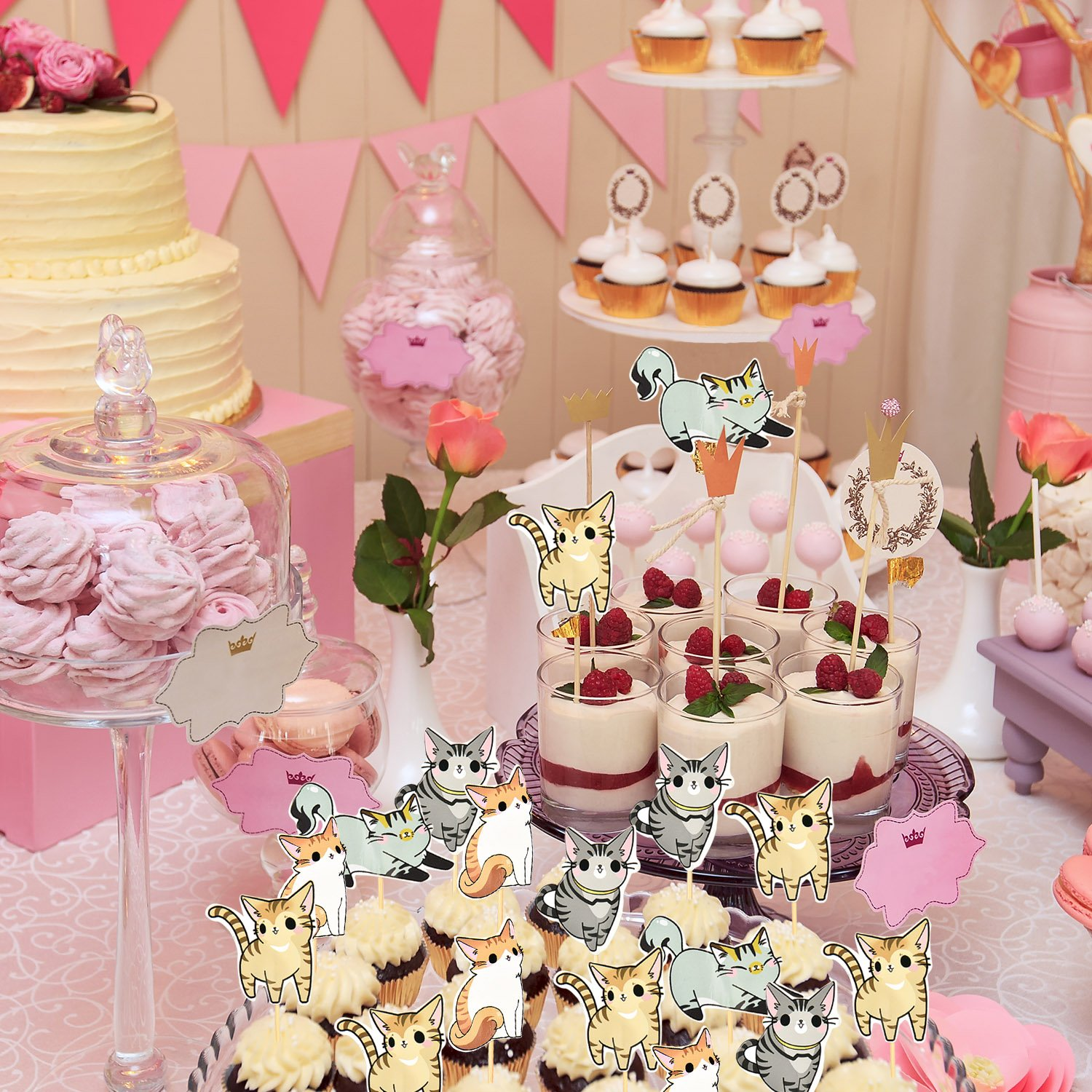 Hestya 72 Pieces Cat Cupcake Toppers Cute Kitten Cake Topper Picks