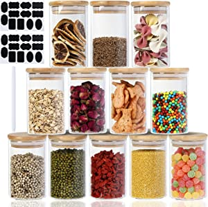 GlassJarsSet,8OzSpiceGlassJarswithBambooWoodenAirtightLids,FoodStorageContainersforHomeKitchen,Tea,Sugar,Spices,Coffee,Flour,Herbs,Grains。Setof12