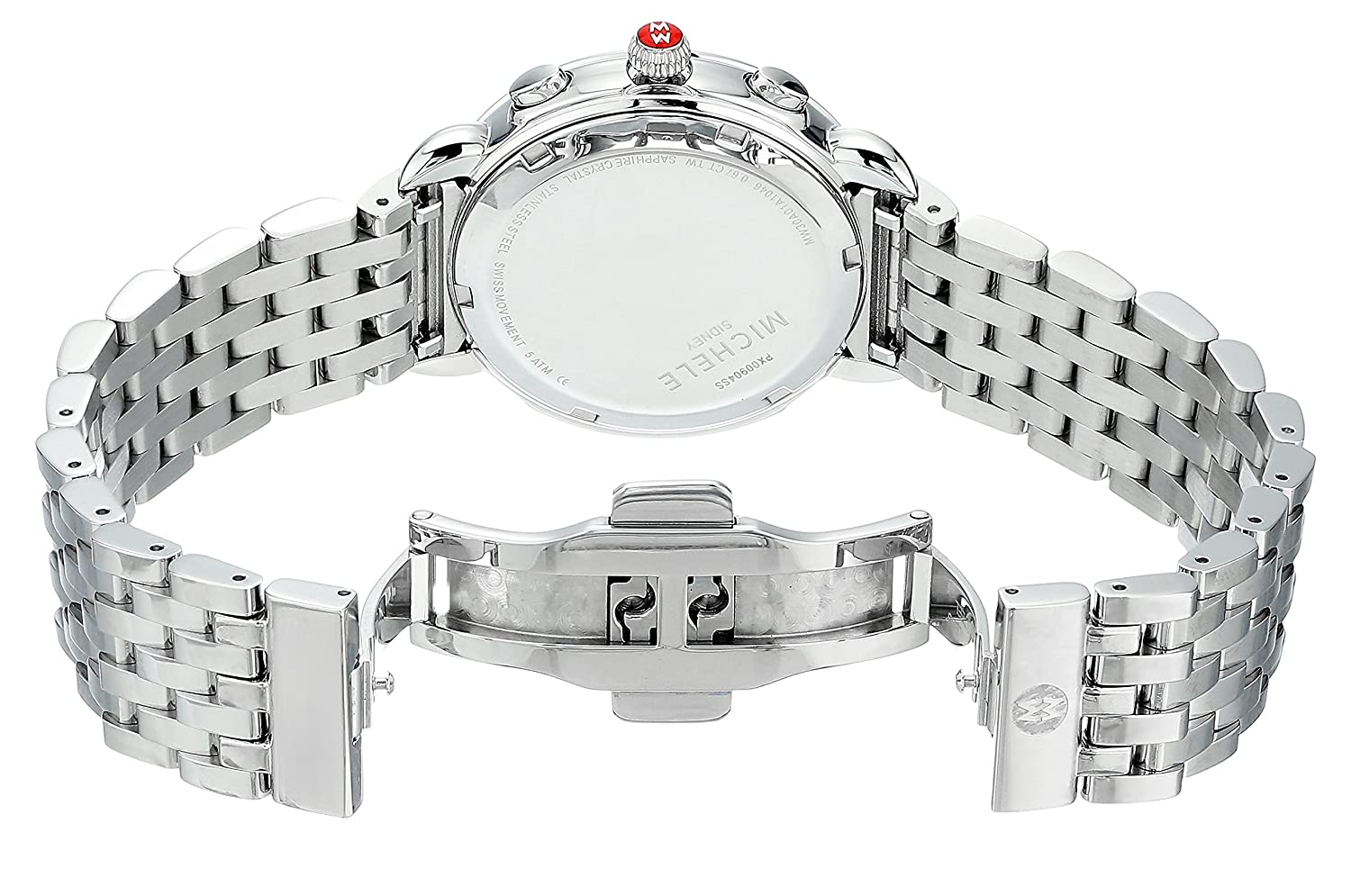 b8df72e94 Amazon.com: Michele Sidney One Hundred Seventeen Diamonds Swiss Chronograph  Mother of Pearl Dial Silver Tone Women's Watch MWW30A000001: Watches