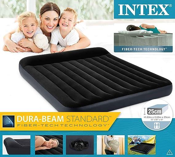 Intex Dura Beam Pillow Rest colchón de Matrimonio Hinchable, Negro ...