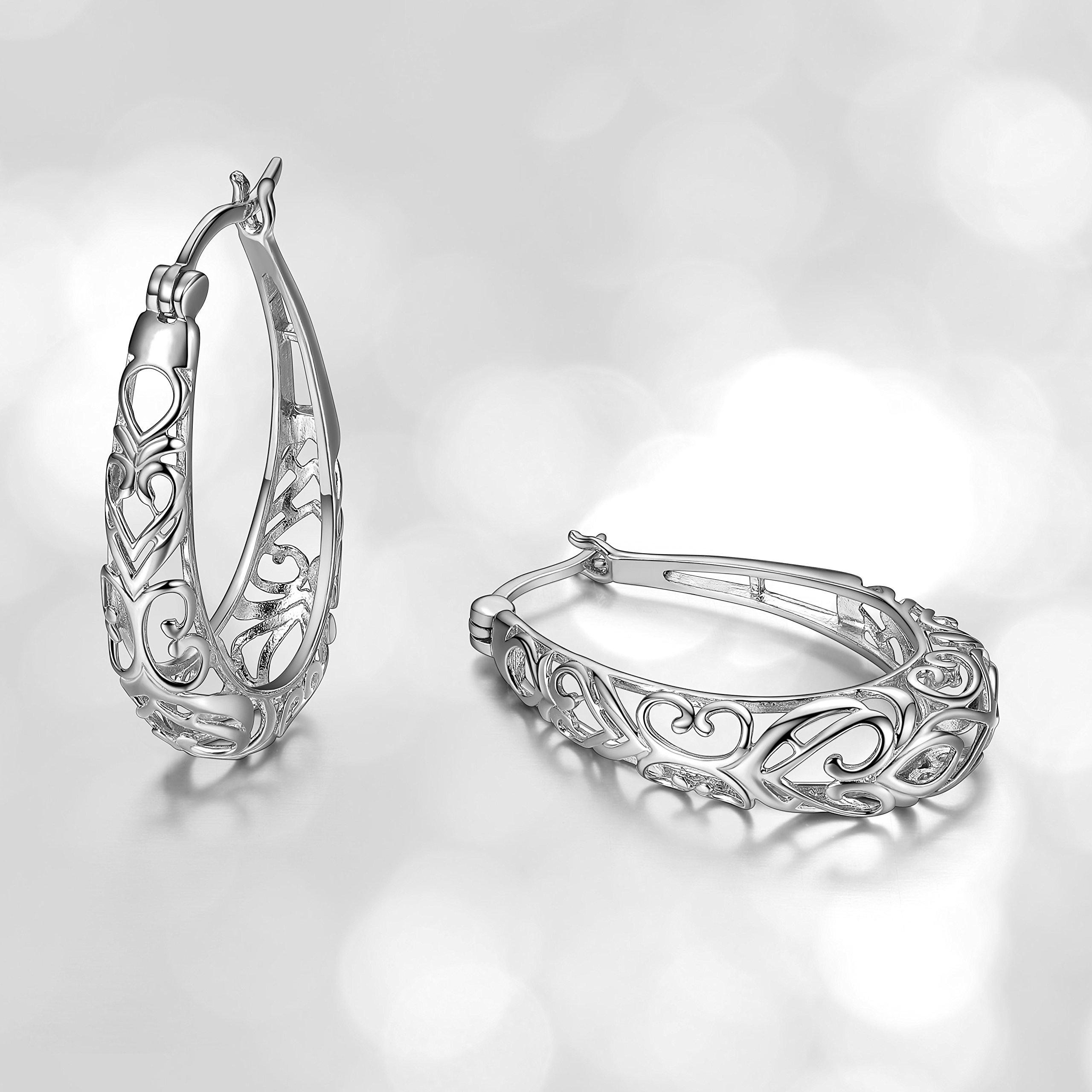Sterling Silver Filigree Oval Hoop Earrings