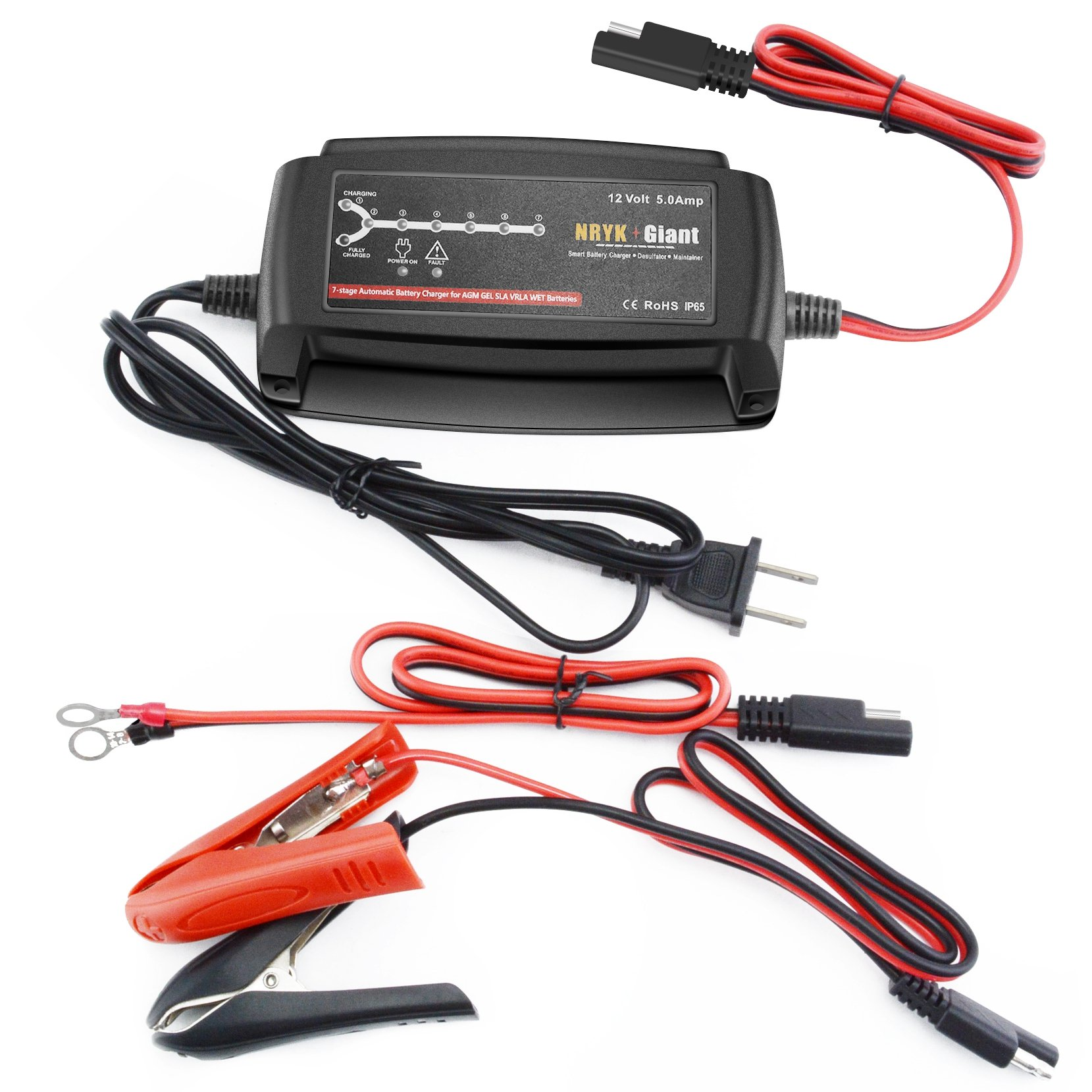 12 Volt 5 Amp 7-stage Car Battery Charger Maintainer for 20-120AH AGM GEL Battery by NRYK GIANT (Image #5)